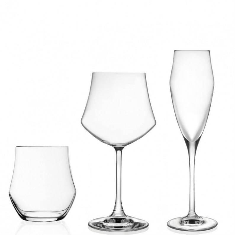 Servizio da 18 bicchieri e calici da tavola modello Ego della RCR