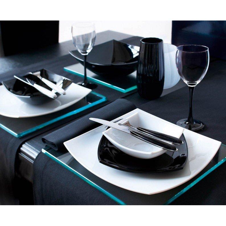 servizio piatti in arcopal Luminarc mod. Quadrato Bianco Nero