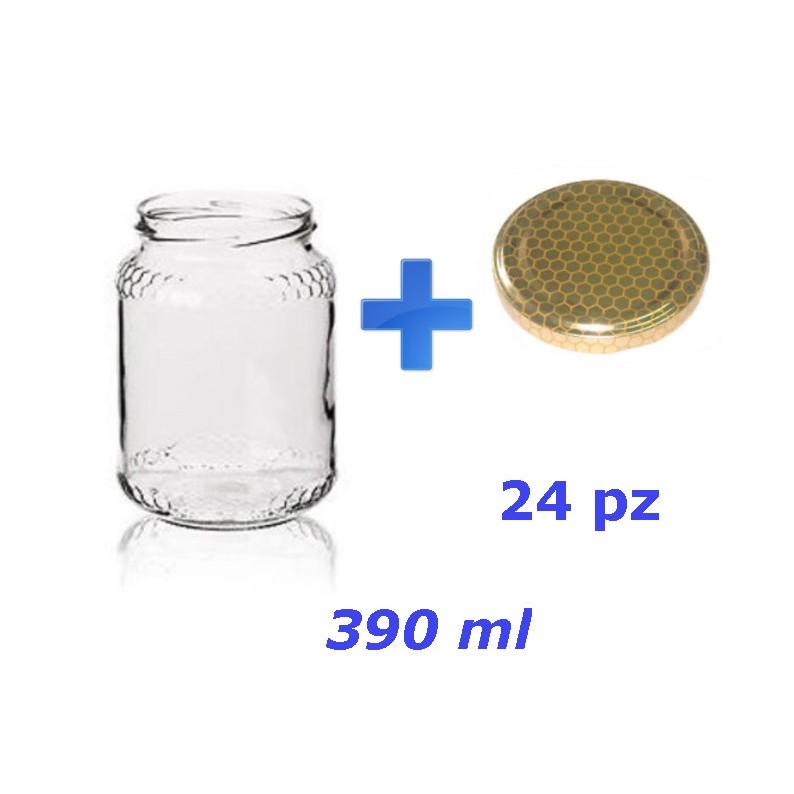 24 barattoli in vetro per miele da mezzo chilo completi di tappo