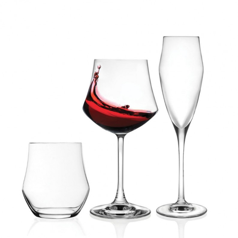 Set 18 calici vino e acqua in cristallo RCR modello Ego