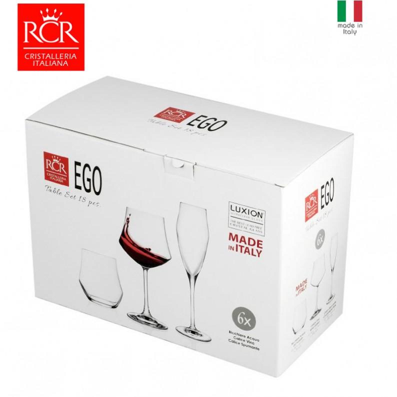 Confezione regalo con 18 bicchieri in vetro cristallo RCR Ego