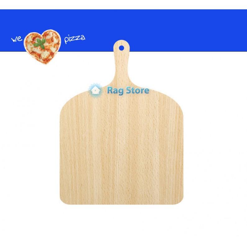 Paletta servi pizza in legno con manico cm 41 x 30