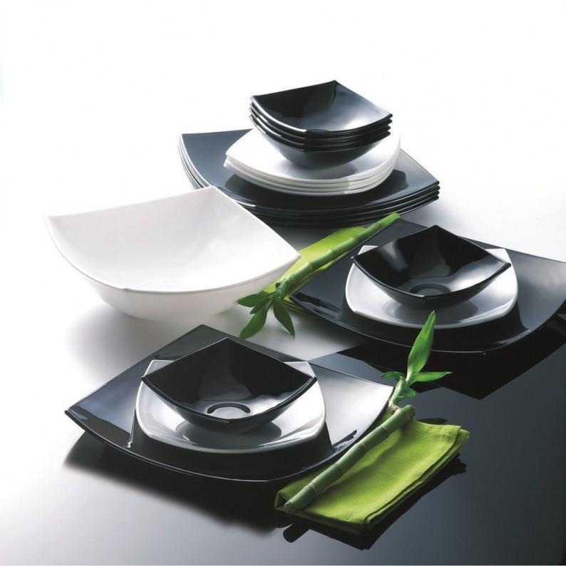 Servizio 18 piatti arcopal Luminarc mod. Quadrato Black and White