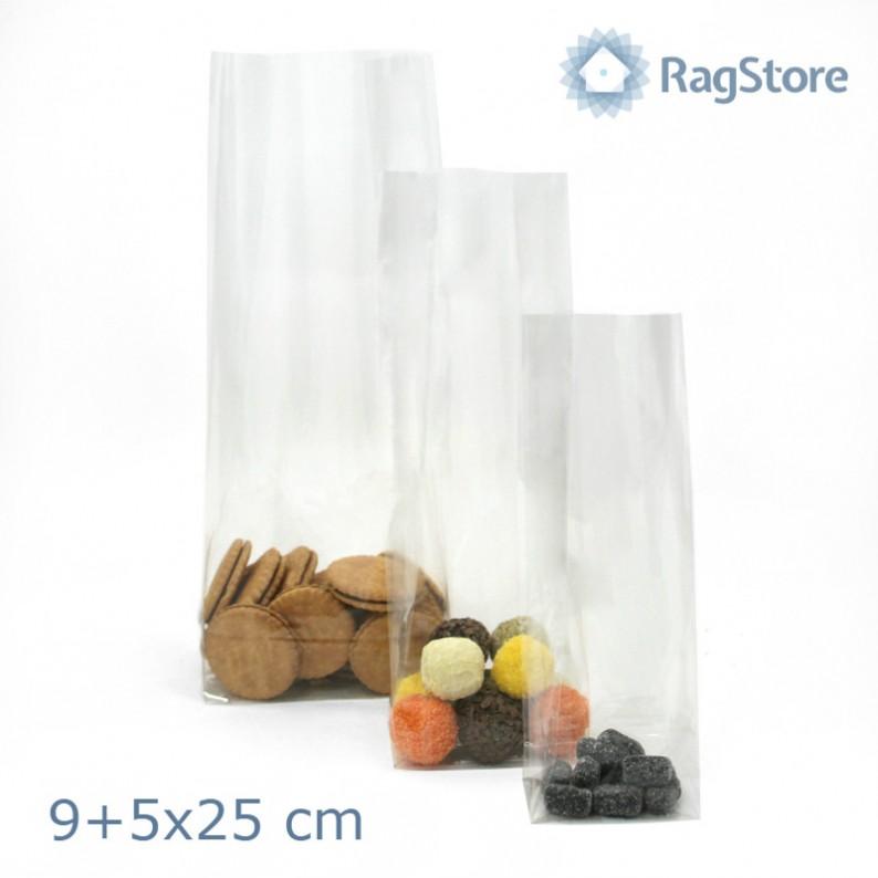sacchetto trasparente fondo quadro cm 9+5x25 h