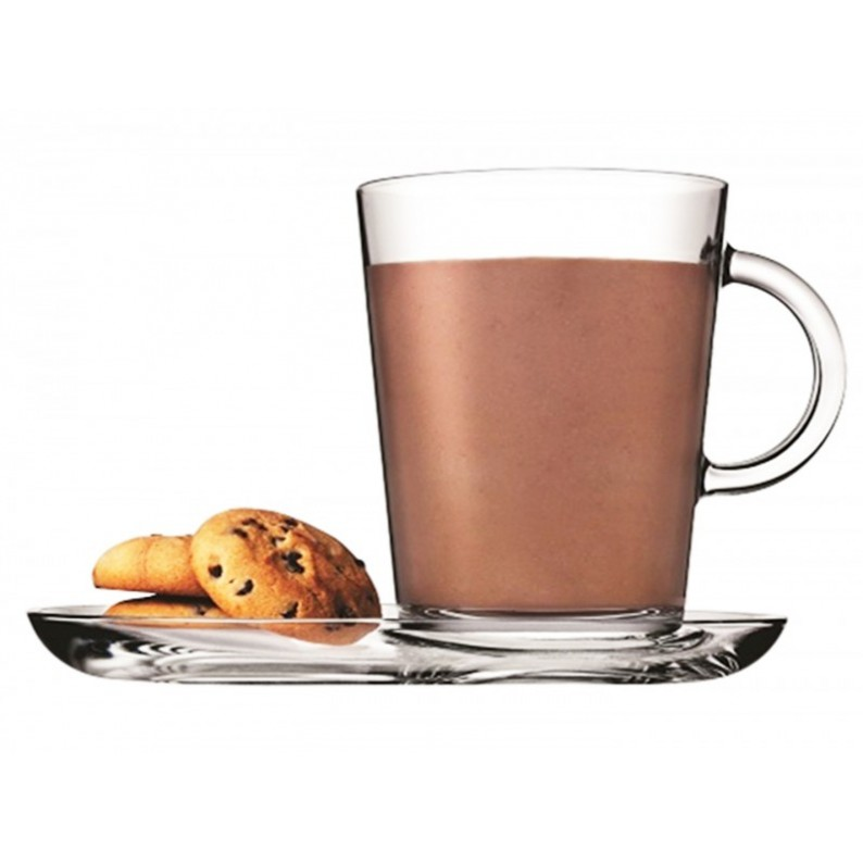 Tribeca Tazza da cappuccino con piattino in vetro