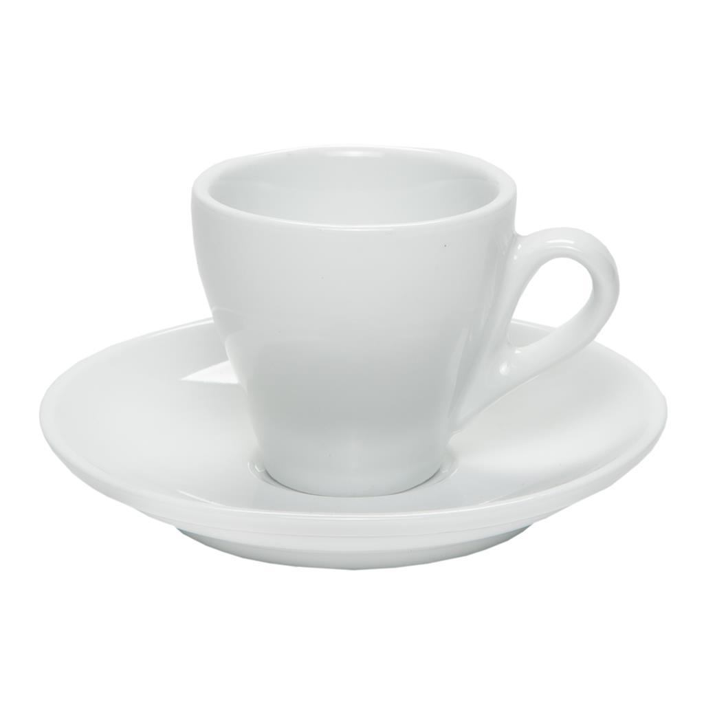 Tazzine caffè porcellana Bar con piattino 6 pz Bianche