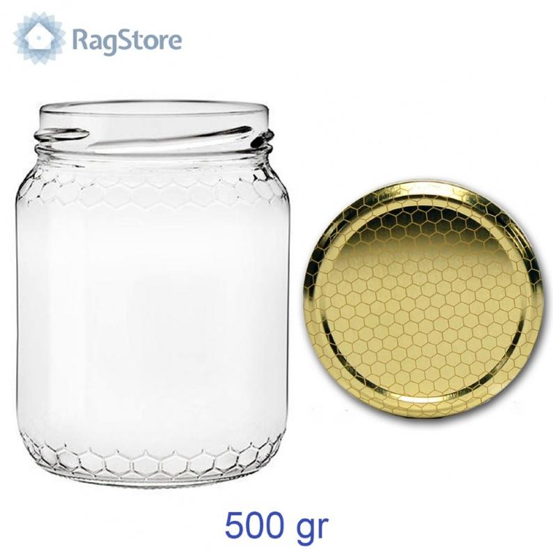 Vasetto vetro per miele con celle e tappo alveare 500 grammi