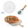Set 6 piatti pizza con paletta e rotella taglia pizza