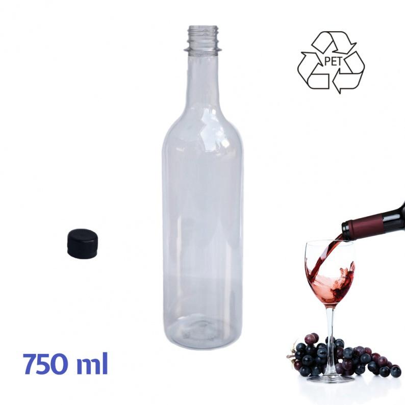 Bottiglia bordolese in plastica riciclabile da 750 ml trasparente