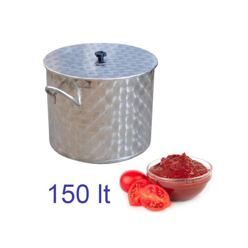 Pentola per salsa pomodori in acciaio inox da 150 lt con coperchio