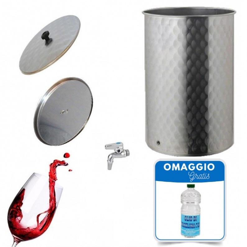 Serbatoio in acciaio inox 18/10 per vino con galleggiante ad olio da 50 a 1000 lt