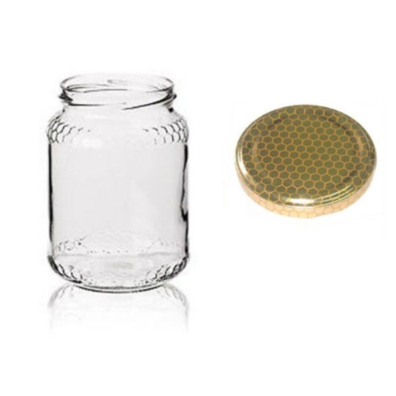 Set 24 barattoli da miele 500 gr completi di capsule stampate ad alveare
