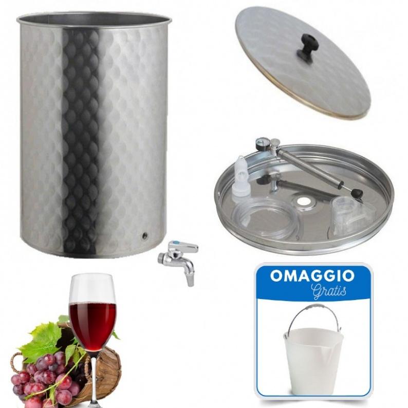 Serbatoio botte acciaio inox per vino con chiusura ad aria con pompetta da 100 a 700 lt