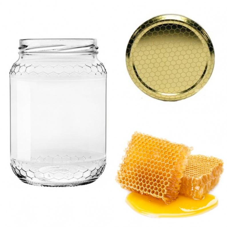 Barattolo in vetro per miele con decoro celle completo di tappo