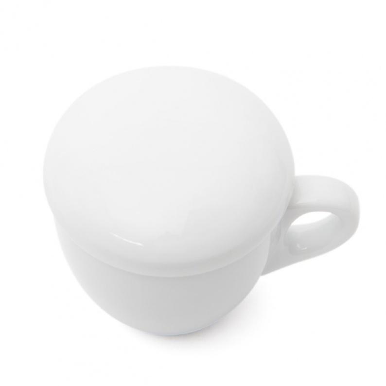 Copri tazza in porcellana bianca
