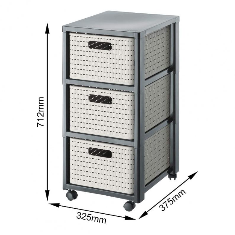 Dimensioni cassettiera Country Rotho 3 cassetti Cappuccino