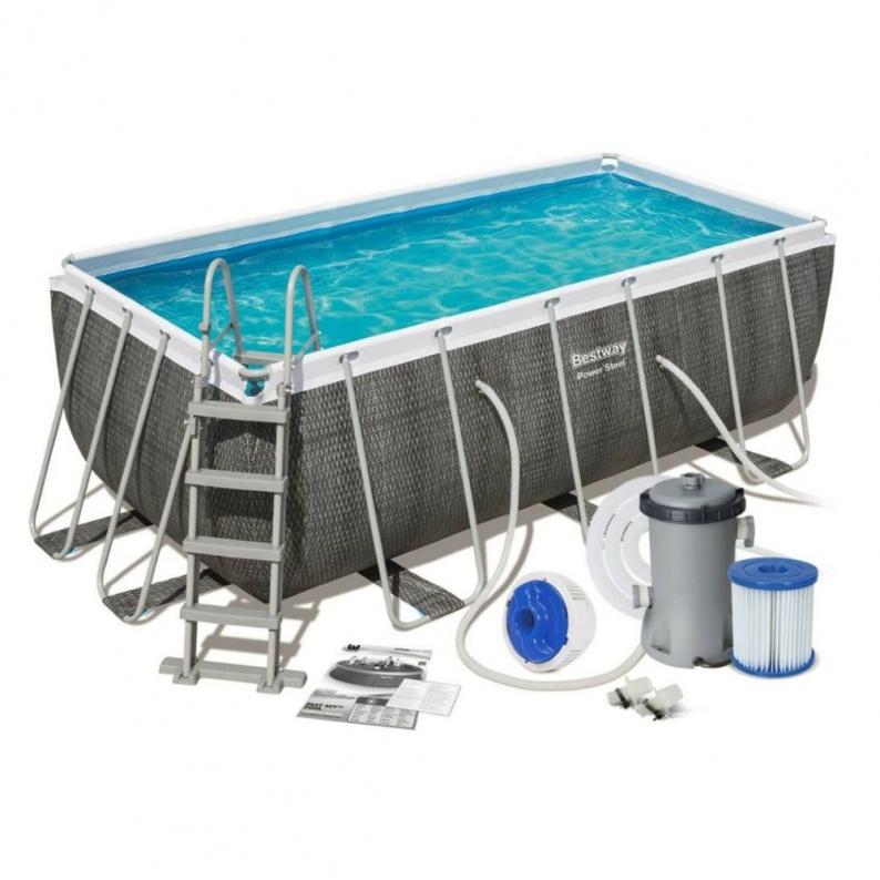 Bestway 56722 piscina rettangolare con tubolare ferro cm 412x201