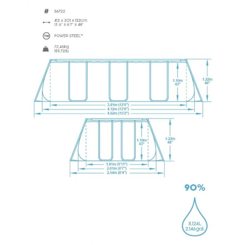 Dimensioni struttura piscina fuori terra Bestway 56722