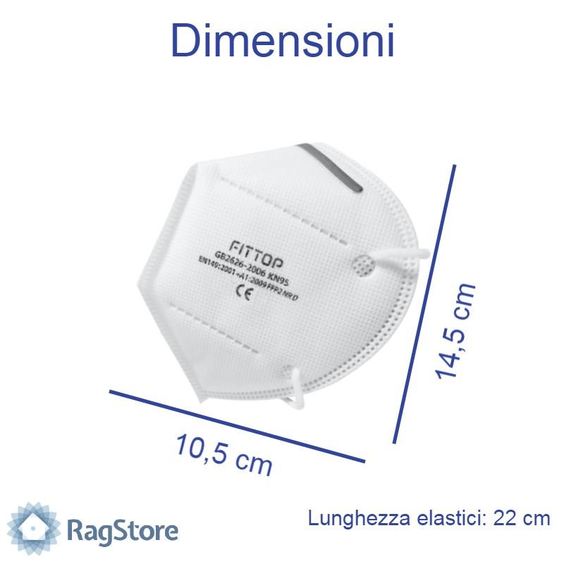 Dimensioni mascherina protettiva Kn95 FFP2 - Prezzo scontato